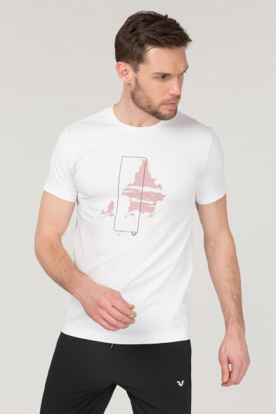 BİLCEE - Bilcee Beyaz Pamuklu Erkek T-Shirt FS-1682
