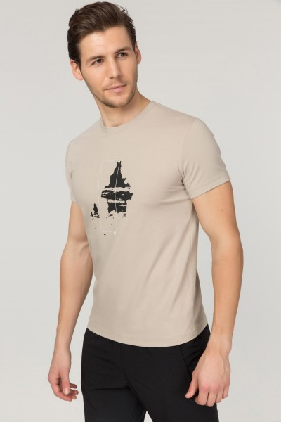 BİLCEE - Bilcee Krem Pamuklu Erkek T-Shirt FS-1682