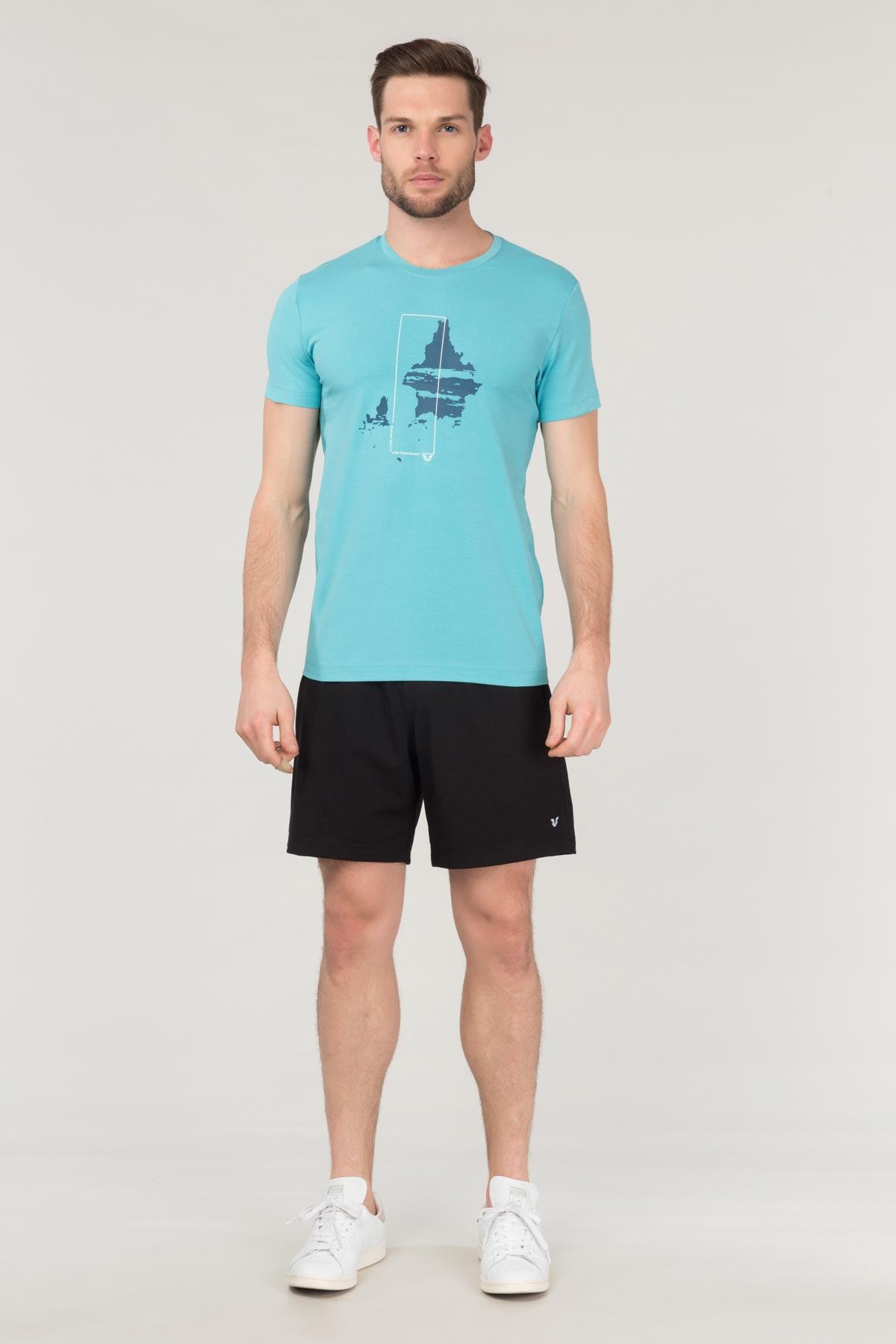 Bilcee Mavi Pamuklu Erkek T-Shirt FS-1682 BİLCEE