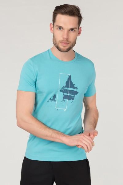 BİLCEE - Bilcee Mavi Pamuklu Erkek T-Shirt FS-1682