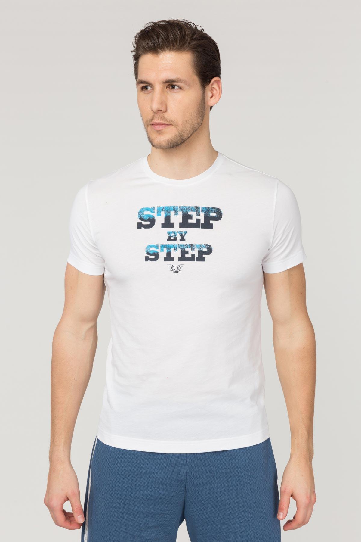 Bilcee Beyaz Pamuklu Erkek T-Shirt FS-1684 BİLCEE