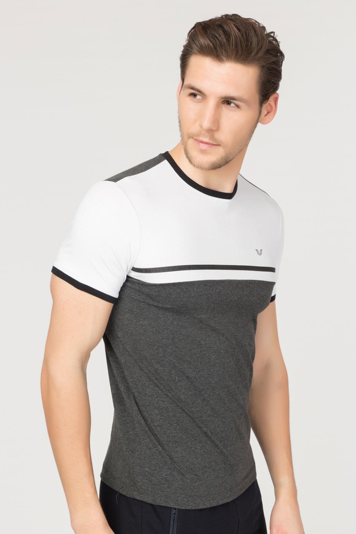Bilcee Antrasit Pamuklu Erkek T-Shirt FS-1762 BİLCEE