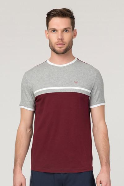 BİLCEE - Bilcee Bordo Pamuklu Erkek T-Shirt FS-1762