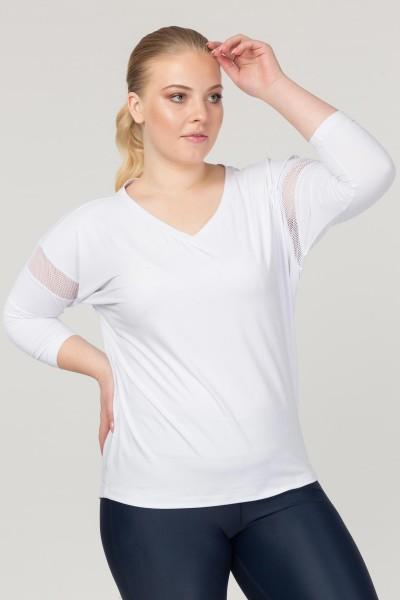 BİLCEE - Bilcee Büyük Beden Beyaz Kadın Antrenman T-Shirt FS-1769