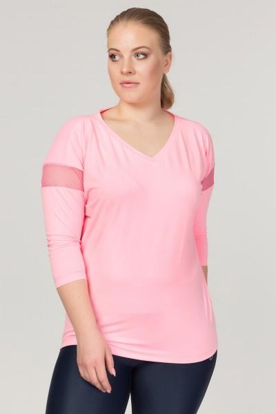 BİLCEE - Bilcee Büyük Beden Pembe Kadın Antrenman T-Shirt FS-1769