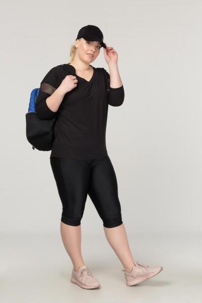 BİLCEE - Bilcee Büyük Beden Siyah Kadın Antrenman T-Shirt FS-1769 (1)