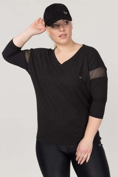 BİLCEE - Bilcee Büyük Beden Siyah Kadın Antrenman T-Shirt FS-1769