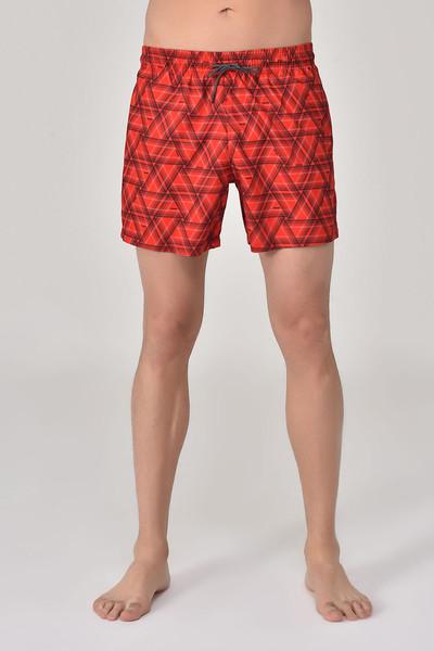 BİLCEE - Bilcee Kırmızı Erkek Üçgen Desenli Deniz Şort GS-4019