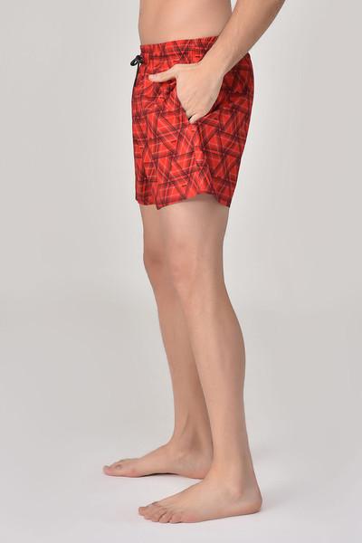 BİLCEE - Bilcee Kırmızı Erkek Üçgen Desenli Deniz Şort GS-4019 (1)
