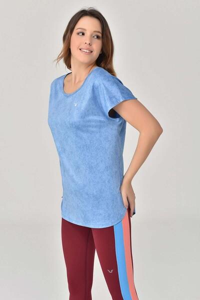BİLCEE - Bilcee Mavi Kadın T-Shirt GS-8075 (1)