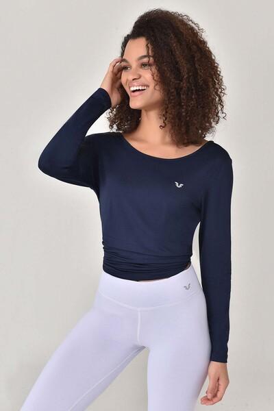 BİLCEE - Bilcee Lacivert Kadın Uzun Kol T-Shirt GS-8108 (1)