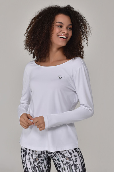 BİLCEE - Bilcee Beyaz Kadın Uzun Kol T-Shirt GS-8108
