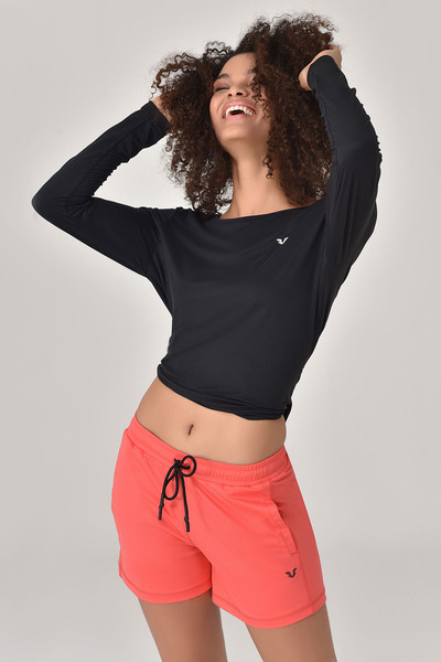 BİLCEE - Bilcee Siyah Kadın Uzun Kol T-Shirt GS-8108