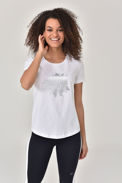 BİLCEE - Bilcee Beyaz Büyük Beden Kadın T-Shirt GS-8131