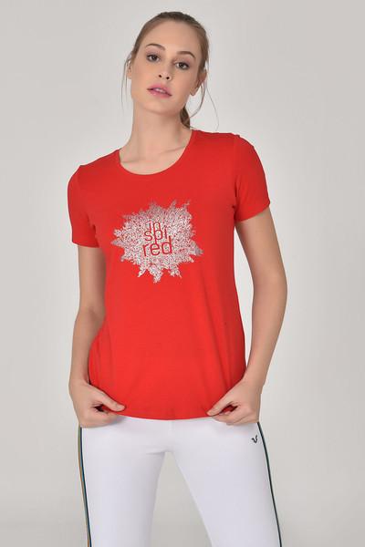 BİLCEE - Bilcee Kırmızı Büyük Beden Kadın T-Shirt GS-8131