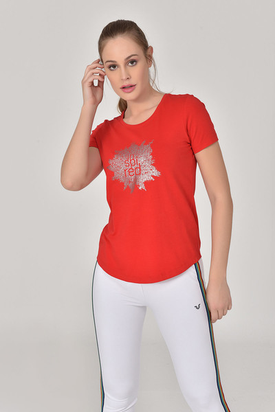 BİLCEE - Bilcee Kırmızı Büyük Beden Kadın T-Shirt GS-8131 (1)