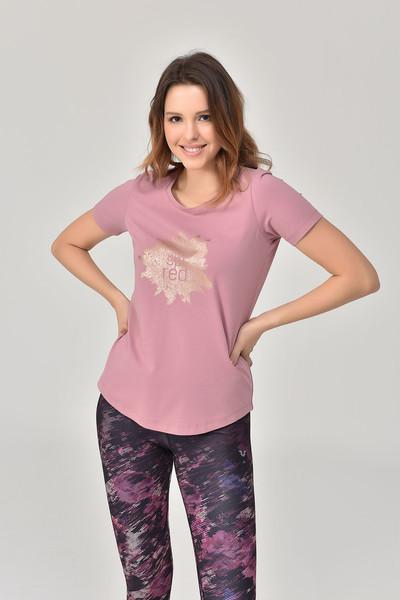 BİLCEE - Bilcee Pembe Büyük Beden Kadın T-Shirt GS-8131