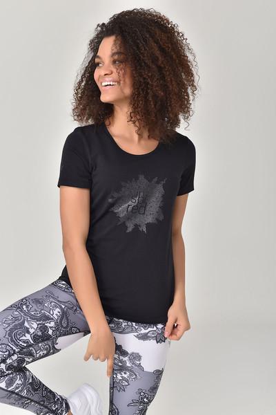 BİLCEE - Bilcee Siyah Büyük Beden Kadın T-Shirt GS-8131