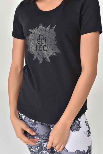 BİLCEE - Bilcee Siyah Büyük Beden Kadın T-Shirt GS-8131 (1)