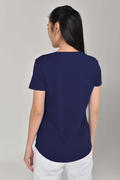BİLCEE - Bilcee Lacivert Büyük Beden Kadın T-Shirt GS-8132 (1)