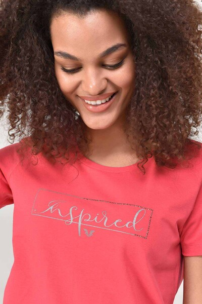 BİLCEE - Bilcee Kırmızı Büyük Beden Kadın T-Shirt GS-8132
