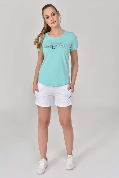 BİLCEE - Bilcee Turkuaz Büyük Beden Kadın T-Shirt GS-8132 (1)