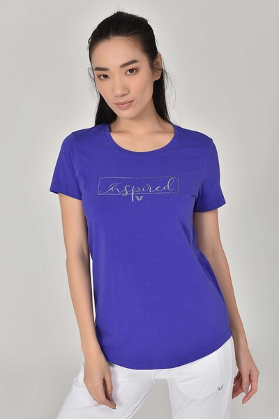 BİLCEE - Bilcee Mavi Büyük Beden Kadın T-Shirt GS-8132