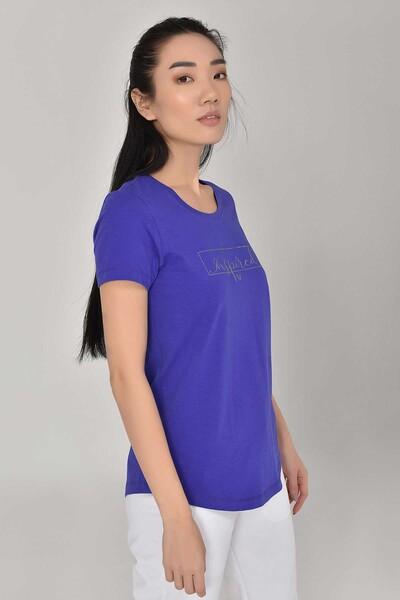 BİLCEE - Bilcee Mavi Büyük Beden Kadın T-Shirt GS-8132 (1)