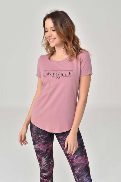 BİLCEE - Bilcee Pembe Büyük Beden Kadın T-Shirt GS-8132