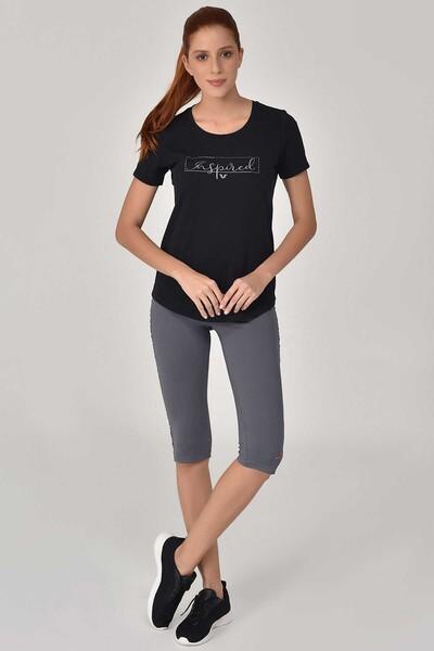 BİLCEE - Bilcee Siyah Büyük Beden Kadın T-Shirt GS-8132 (1)