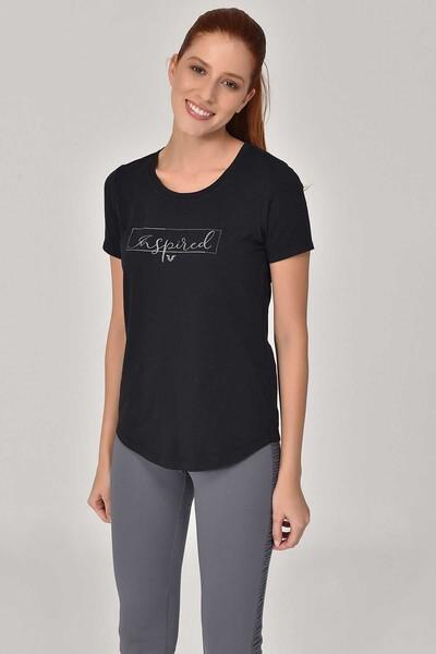 BİLCEE - Bilcee Siyah Büyük Beden Kadın T-Shirt GS-8132