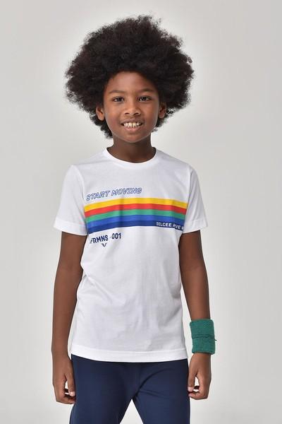 BİLCEE - Bilcee Beyaz Unisex Çocuk T-Shirt GS-8145