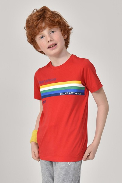 BİLCEE - Bilcee Kırmızı Unisex Çocuk T-Shirt GS-8145
