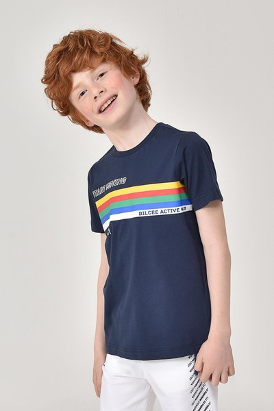 BİLCEE - Bilcee Lacivert Unisex Çocuk T-Shirt GS-8145