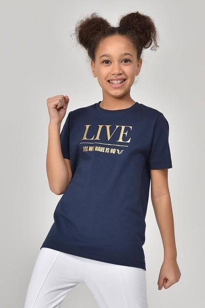 BİLCEE - Bilcee Lacivert Kız Çocuk T-Shirt GS-8151