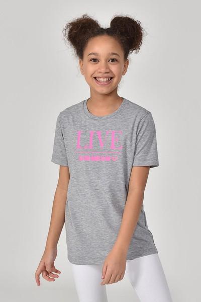 BİLCEE - Bilcee Antrasit Kız Çocuk T-Shirt GS-8151