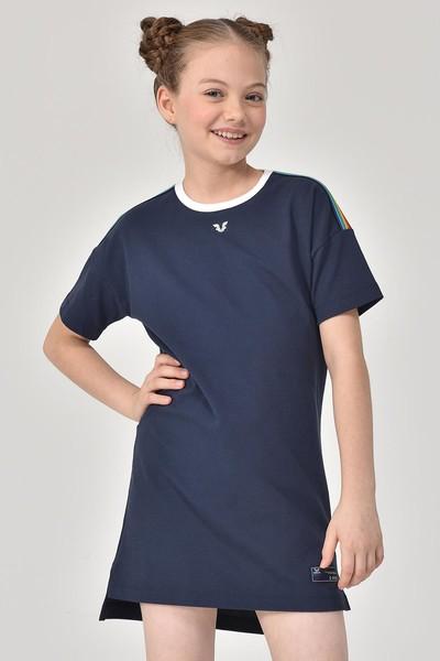 BİLCEE - Bilcee Lacivert Kız Çocuk Elbise GS-8152