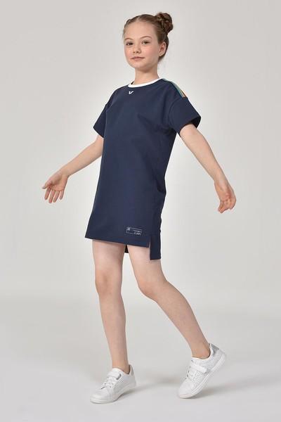 BİLCEE - Bilcee Lacivert Kız Çocuk Elbise GS-8152 (1)