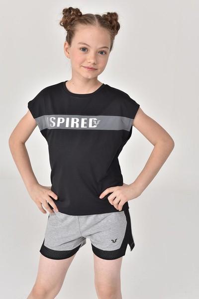 BİLCEE - Bilcee Siyah Kız Çocuk T-Shirt GS-8157 (1)