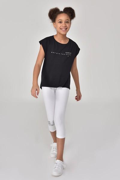 BİLCEE - Bilcee Siyah Kız Çocuk T-Shirt GS-8158 (1)