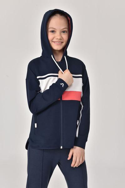 BİLCEE - Bilcee Lacivert Kız Çocuk Eşofman Üstü GS-8170