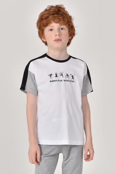 BİLCEE - Bilcee Beyaz Erkek Çocuk T-Shirt GS-8178
