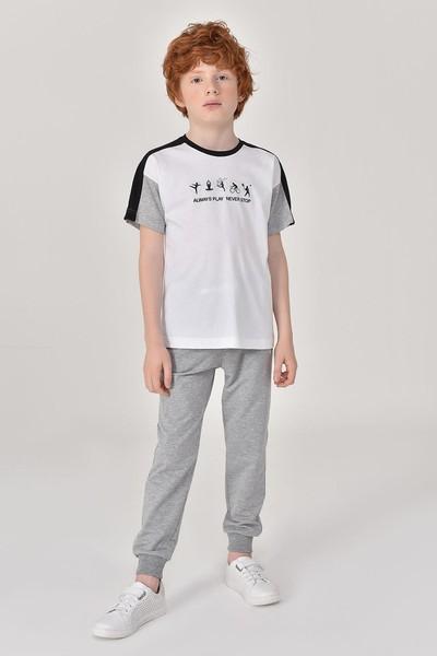 BİLCEE - Bilcee Beyaz Erkek Çocuk T-Shirt GS-8178 (1)