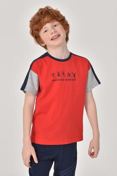 BİLCEE - Bilcee Kırmızı Erkek Çocuk T-Shirt GS-8178