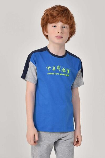 BİLCEE - Bilcee Mavi Erkek Çocuk T-Shirt GS-8178 (1)