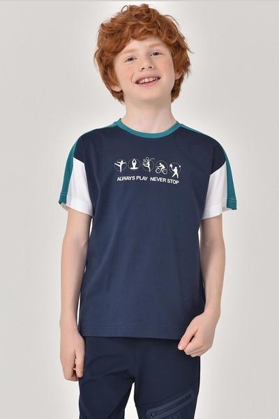 BİLCEE - Bilcee Lacivert Erkek Çocuk T-Shirt GS-8178