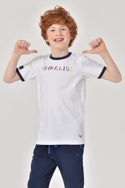 BİLCEE - Bilcee Beyaz Unisex Çocuk T-Shirt GS-8192