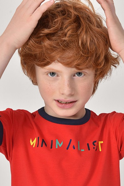 BİLCEE - Bilcee Kırmızı Unisex Çocuk T-Shirt GS-8192 (1)