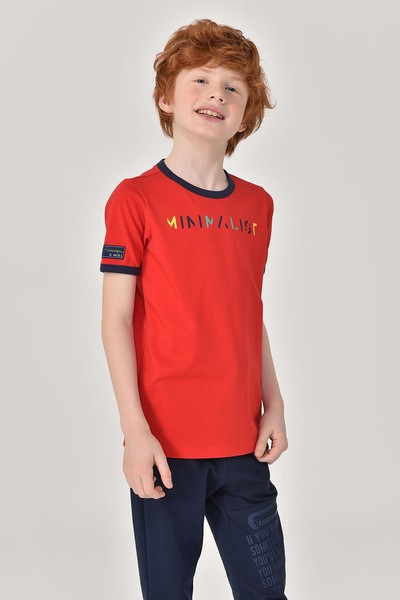 BİLCEE - Bilcee Kırmızı Unisex Çocuk T-Shirt GS-8192