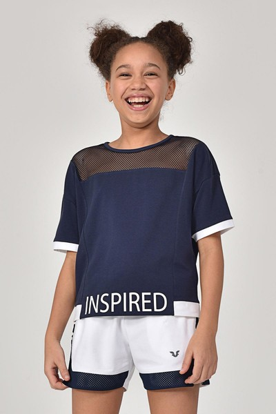 - Bilcee Lacivert Kız Çocuk T-Shirt GS-8193